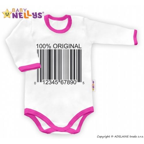 Baby Nellys Body dlhý rukáv 100% ORIGINÁL - bielo / ružový lem - 80 (9-12m)