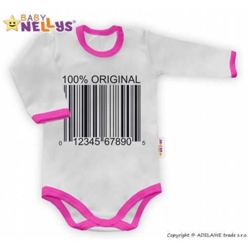 Baby Nellys Body dlhý rukáv 100% ORIGINÁL - sivé / ružový lem - 56 (1-2m)
