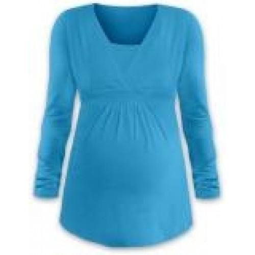 JOŽÁNEK Dojčiace aj tehotenská tunika ANIČKA s dlhým rukávom - tyrkys - L/XL