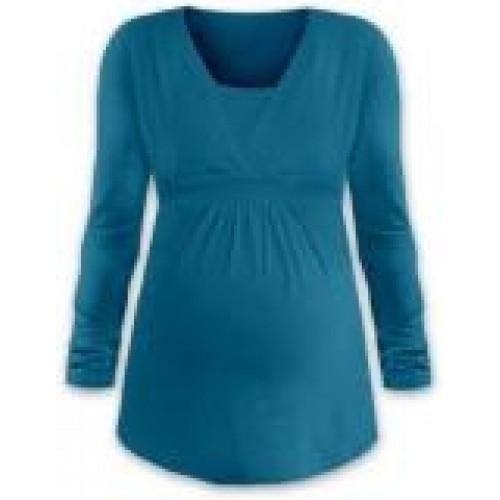 JOŽÁNEK Dojčiace aj tehotenská tunika ANIČKA s dlhým rukávom - petrolejová - L/XL