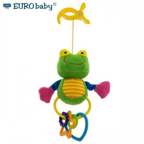 Euro Baby Plyšová hračka s klipom a hrkálkou - Žabička, Ce19