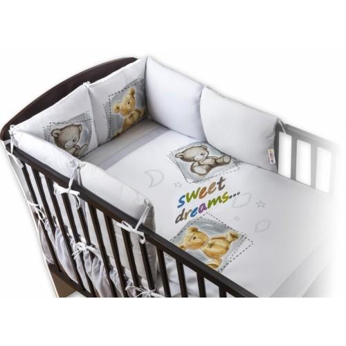 Baby Nellys Obliečky s vankúšikovým mantinelom Sweet Dreams by TEDDY - sivý - 120x90