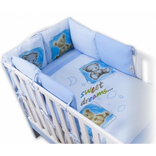 Baby Nellys Obliečky s vankúšikovým mantinelom Sweet Dreams by TEDDY - modrý - 120x90