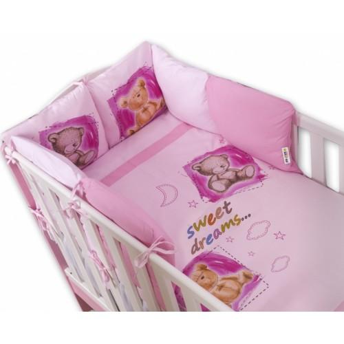 Baby Nellys Obliečky s vankúšikovým mantinelom Sweet Dreams by TEDDY - růžový - 120x90