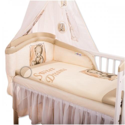 Baby Nellys Mantinel s obliečkami Sweet Dreams by Teddy - pieskový - 120x90