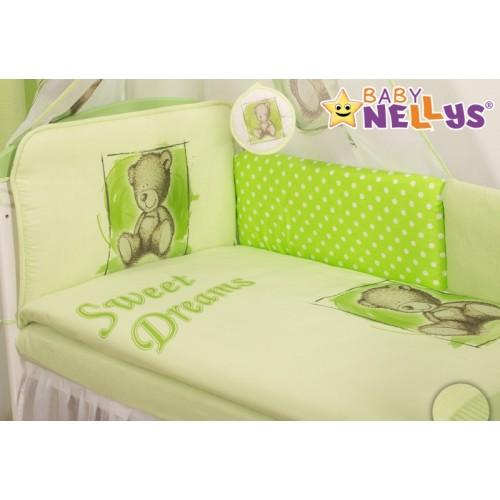 Baby Nellys Mantinel 360 cm s obliečkami Sweet Dreams by Teddy - zelený - 120x90