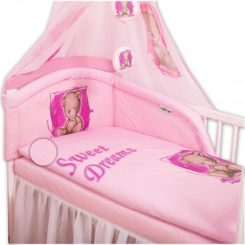 Baby Nellys Mantinel s obliečkami Sweet Dreams by Teddy - růžový - 140x70