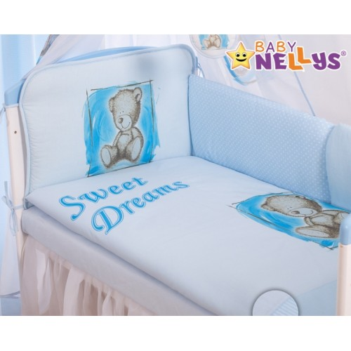 Baby Nellys Mantinel 420 cm s obliečkami Sweet Dreams by Teddy - modrý - 140x70