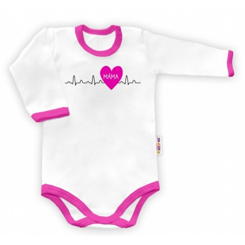 Baby Nellys Body dlhý rukáv vel. 62, Máma v srdíčku - biele/růžový lem - 62 (2-3m)