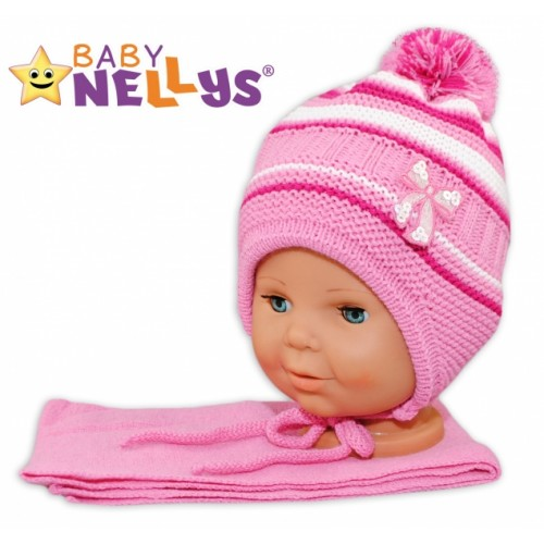 BABY NELLYS Zimná čiapočka s šálom - Mašlička - tm. ružová s pruhmi - 68-86 (6-18m)