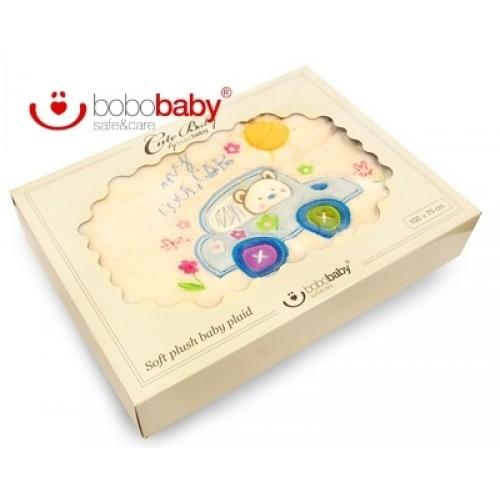 BOBO BABY Detská deka BOBOBABY - Medvedík v aute - krémová/modrá