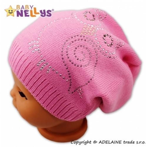 BABY NELLYS Jarné / jesenné čiapky Malá sova - ružová