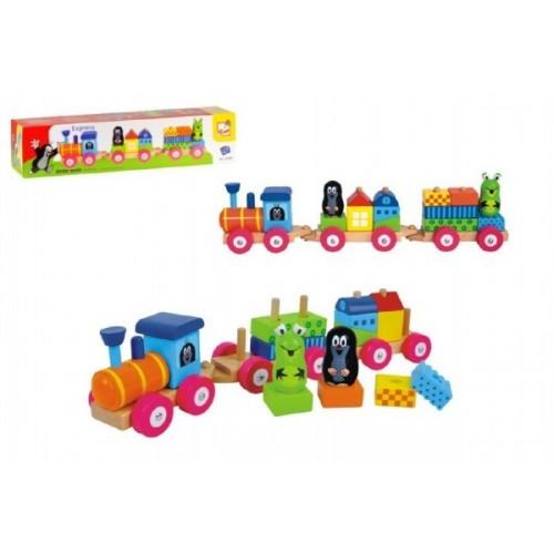 Teddies Vlak s domečky Krtek dřevo 19ks v krabici od 18 měsíců