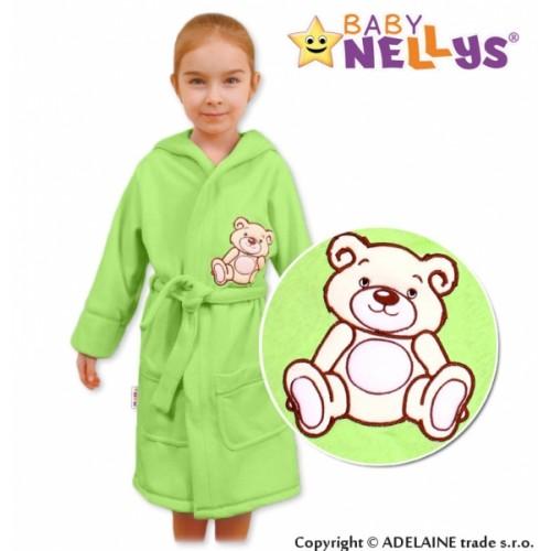 Baby Nellys Detský župan - Medvedík Teddy - zelený - 104 (3-4r)
