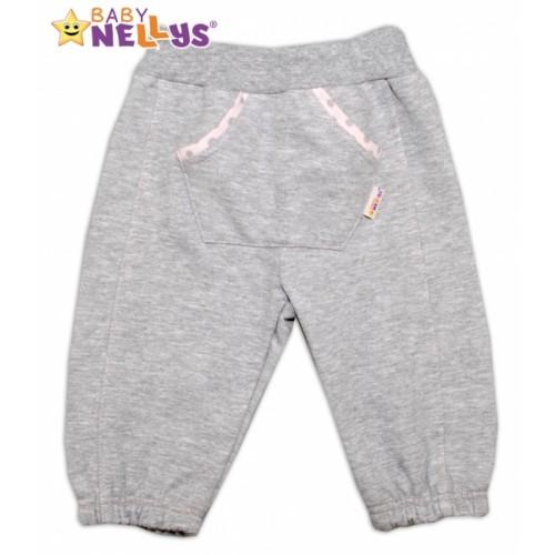 Tepláčky Baby Nellys® - bodky - sv. šedé - 62 (2-3m)