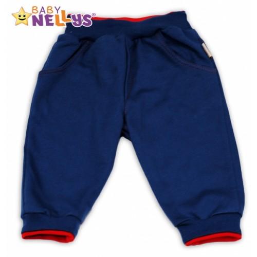 Tepláčky Baby Nellys® - modré/červený lem - 68 (3-6m)
