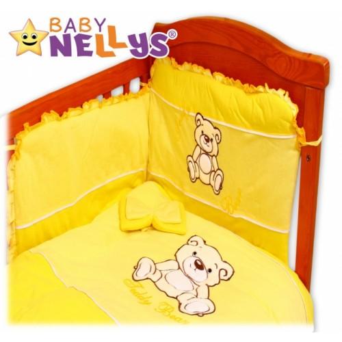 BABY NELLYS Obliečky do postieľky 2D Teddy - jersey - žltý - 120x90
