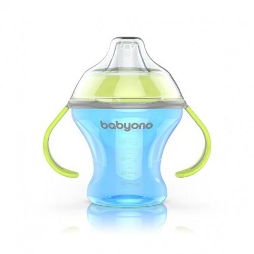 BabyOno Nekvapkajúci hrnček s tvrdým náustkom - modrá/zelená