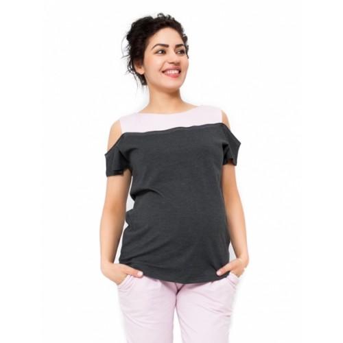 Be MaaMaa Tehotenské tričko Kira - tmavo sivá / ružová - M (38)