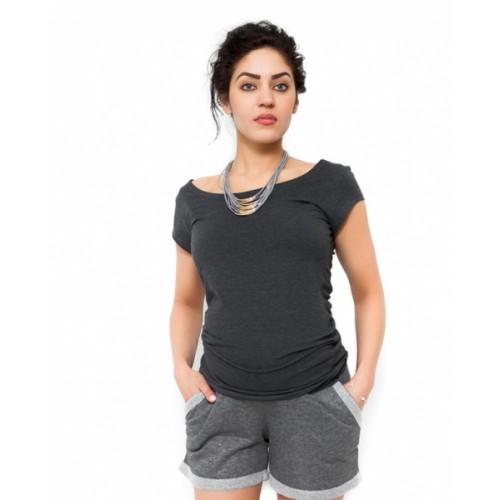 Be MaaMaa Tehotenské tričko/blúzka Celina - grafit -  S (36)