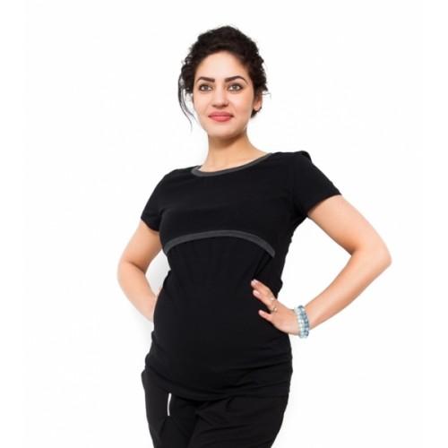 Be MaaMaa Tehotenské a dojčiace tričko - čierne - XL (42)