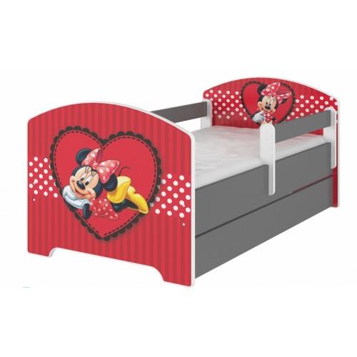 BabyBoo Detská posteľ Disney s zásuvkou, 160x80cm + zábrany - Minnie Srdiečko, D19 - 160x80