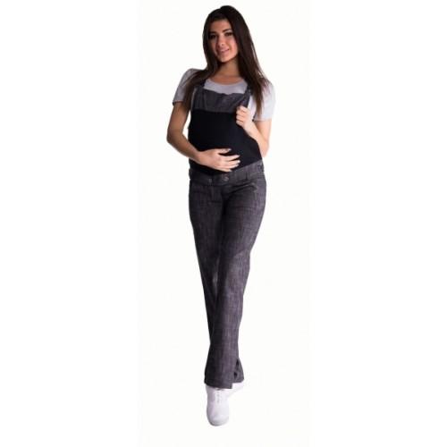 Be MaaMaa Tehotenské nohavice s trakmi - čierny melírek - XL (42)