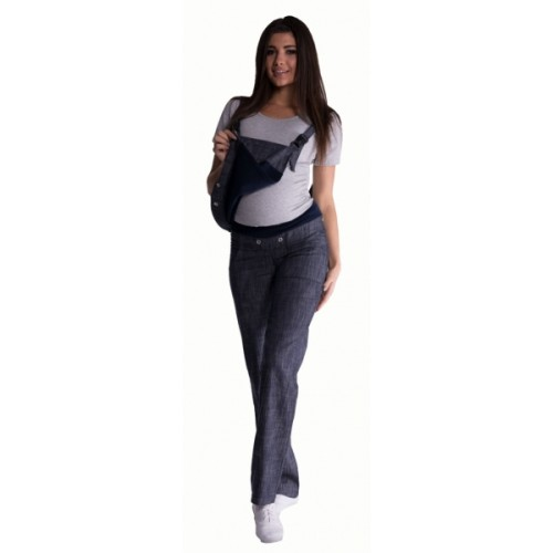Be MaaMaa Tehotenské nohavice s trakmi - granátový melírek -  S (36)