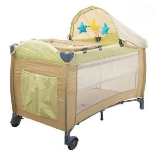 Euro Baby Detská cestovná postieľka DREAM - hnedá, Ce19