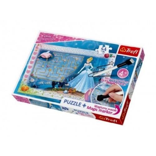 Puzzle + magický fix Princezné - hľadanie črievičke / Disney 54 dielikov v krabici 33x23x4