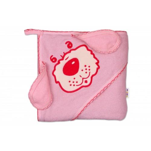 Baby Nellys Detská osuška Psík s kapucňou - ružová