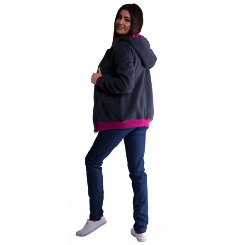 Be MaaMaa Mikina s kapucňou nielen pre tehotné - grafit - L/XL