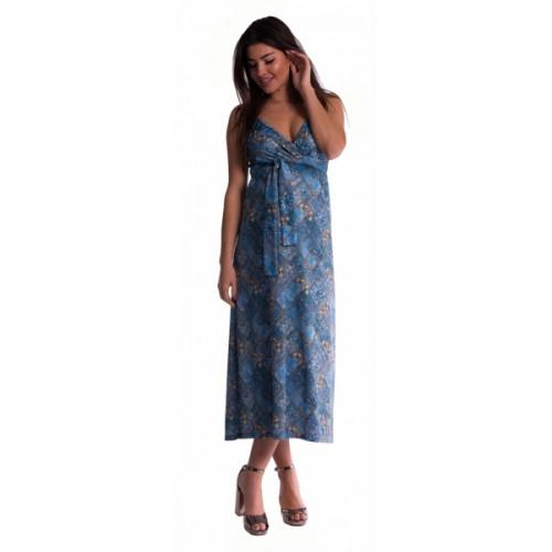 Be MaaMaa Dlhé tehotenské šaty s ramienkami - tm. modré - S/M