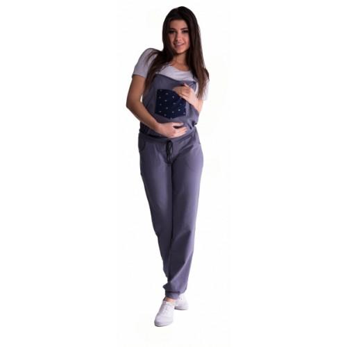 Be MaaMaa Tehotenské teplákové nohavice s trakmi - metalická oceľ - XL (42)