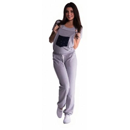 Be MaaMaa Tehotenské teplákové nohavice s trakmi - sivé - XXXL (46)