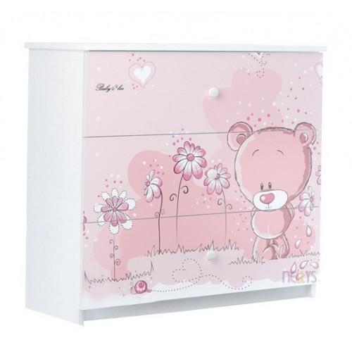 BabyBoo Detská komoda - Medvedík STYDLÍN růžový, D19