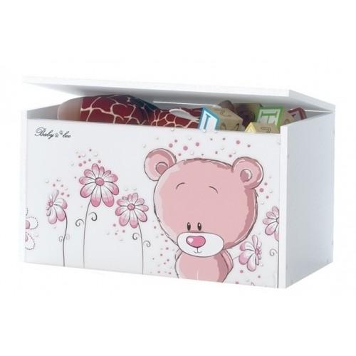 BabyBoo Box na hračky, truhlička Macko STYDLÍN růžový, D19