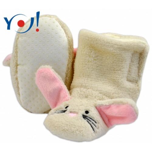 YO ! Zimné topánky/Šľapky polár YO! - králiček - smotanové - 12/18měsíců