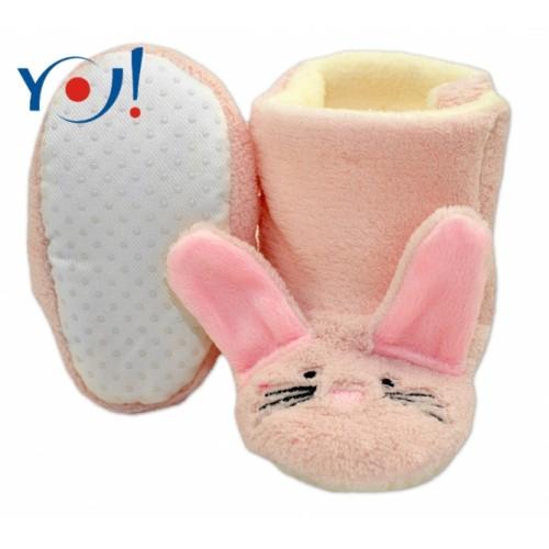 YO ! Zimné topánky/Šľapky polár YO! - králiček - sv. ružové - 6/12měsíců