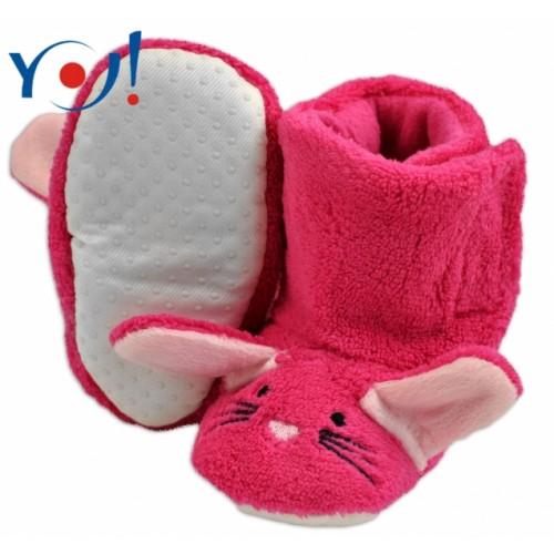 YO ! Zimné topánky/Šľapky polár YO! - králiček - malinové - 12/18měsíců