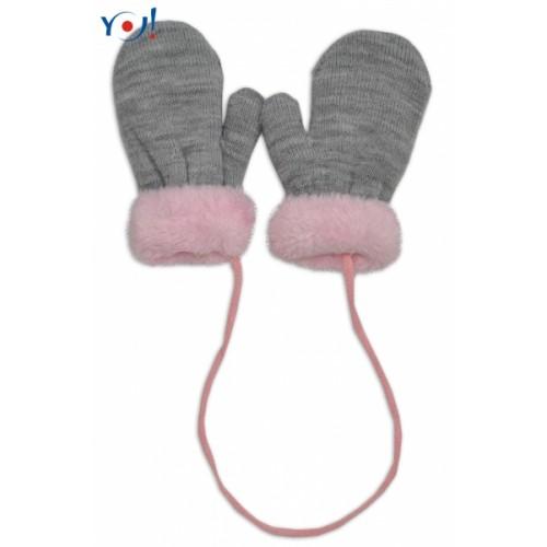 YO !  Zimné detské rukavice s kožušinou - šnúrkou YO - sivá/ružová kožušina - 10cm rukavičky