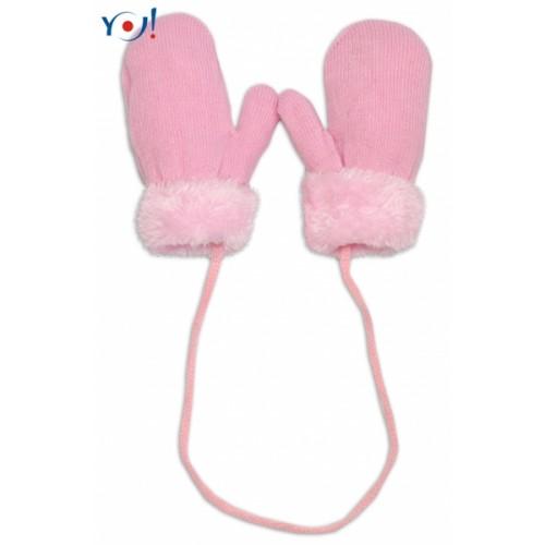 YO !  Zimné detské rukavice s kožušinou - šnúrkou YO - sv. ružová/ružová kožušina - 10cm rukavičky