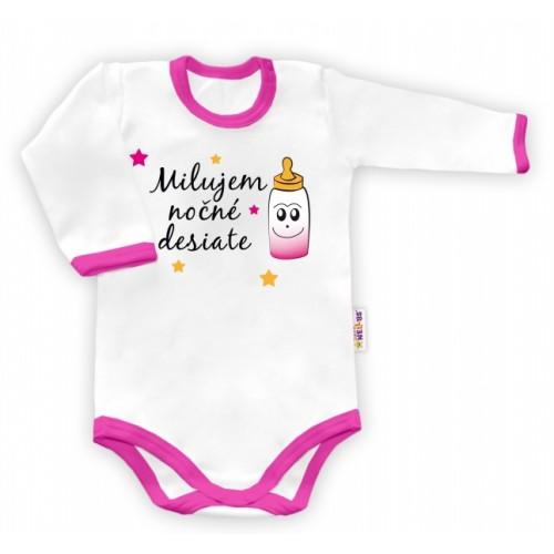 Baby Nellys Body dlouhý rukáv vel. 74, Milujem nočné desiate - biele/ružový lem - 74 (6-9m)