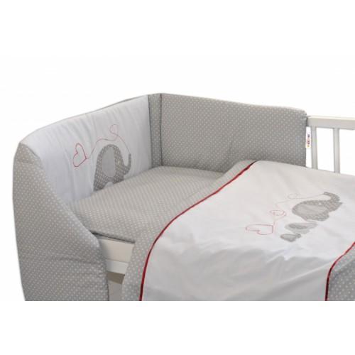 Mantinel s obliečkami Baby Nellys ®- Slony so srdiečkom - 120x90