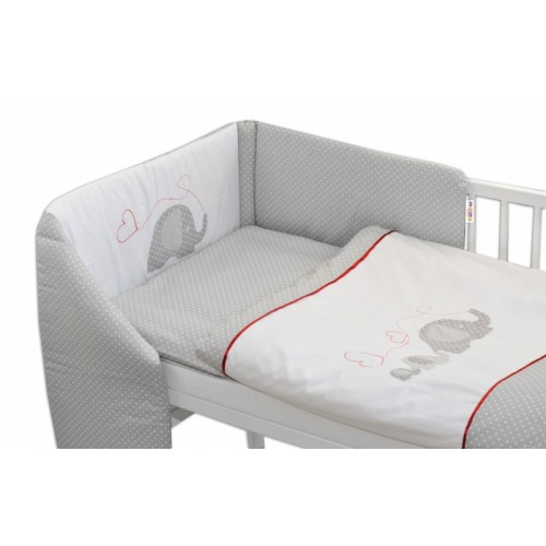 Mantinel s obliečkami Baby Nellys ®- Slony so srdiečkom - 135x100