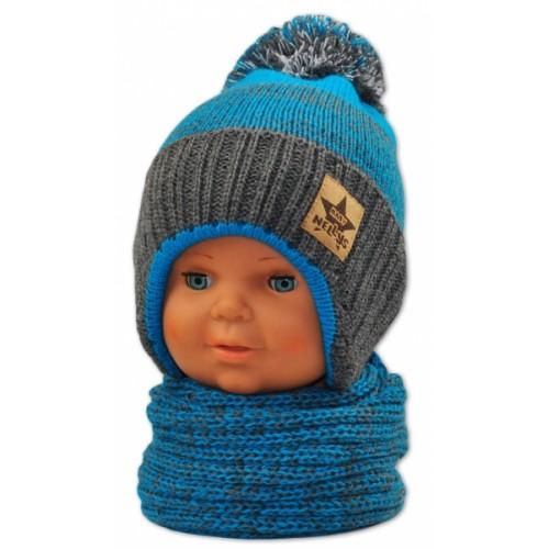 BABY NELLYS Zimná čiapočka s komínom - modrá/grafit - 92/98