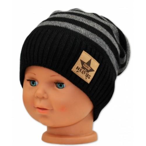 BABY NELLYS Jesenná/zimní prúžkovaná čiapka - čierno/sivá - 3-8let