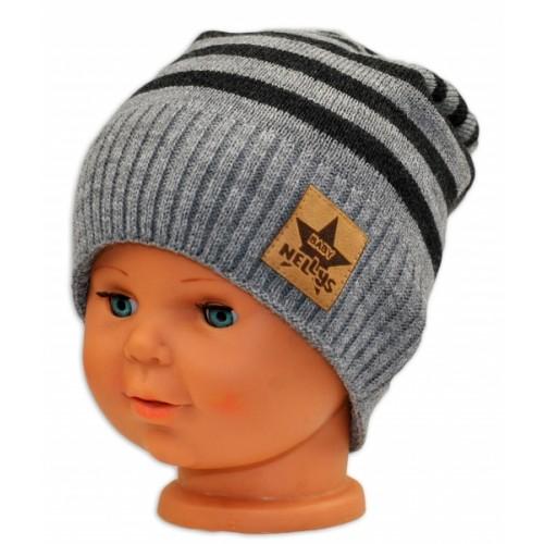 BABY NELLYS Jesenná/zimní prúžkovaná čiapka - sv.sivo/grafit - 3-8let