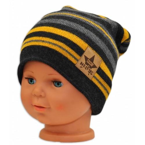BABY NELLYS Jarná/jesenná prúžkovaná čiapka - grafit/sivá/žltá - 36/38 čepičky obvod
