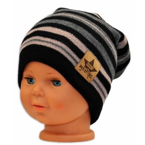 BABY NELLYS Jarná/jesenná prúžkovaná čiapka - čierná/béžová/grafit - 36/38 čepičky obvod
